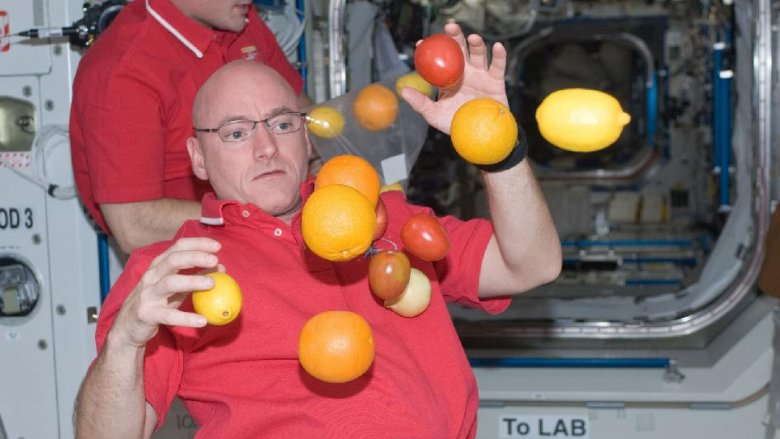 fruit floating in space