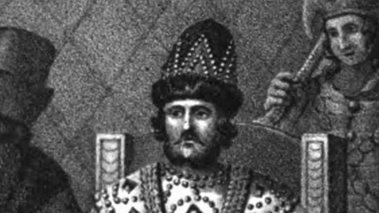 ink drawing of Vasili III, sitting on throne