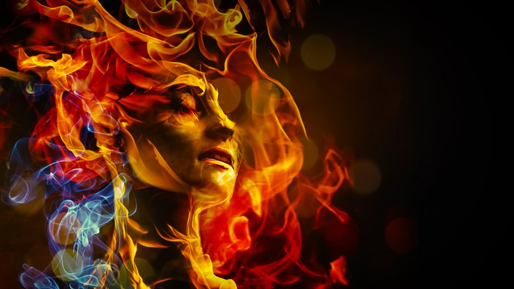 Head consumed with flame